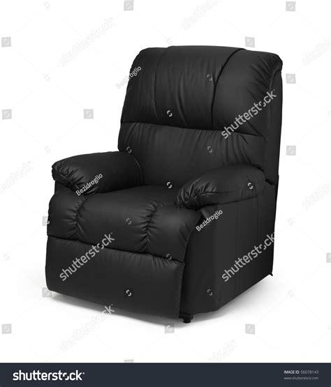 leather recliner armchairs black leather recliner armchair massage foot stock photo