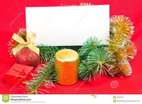 christmas decorations with card on red stock image image