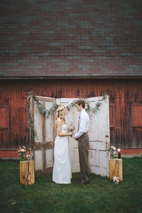 top  vintage  door wedding backdrops roses rings