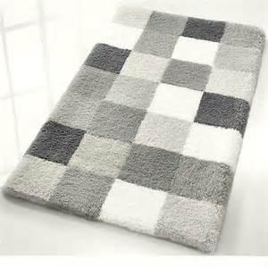 Grey Bathroom Rugs Caro Checker Pattern Rich Multi Color Plush Bathroom Rug