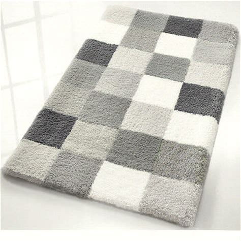 Gray And White Bathroom Rugs by Caro Checker Pattern Rich Multi Color Plush Bathroom Rug