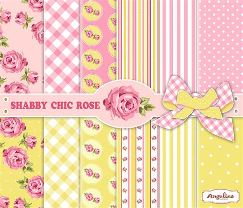 12 shabby chic pink and yellow digital papers 6 digital