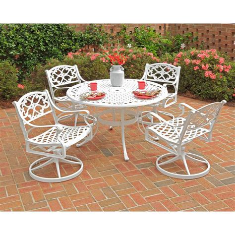 White Patio Furniture Set Home Styles Biscayne 48 In White 5 Swivel Patio Dining Set 5552 325 The Home Depot