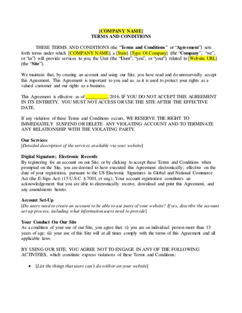 term and conditions template business terms and conditions sle
