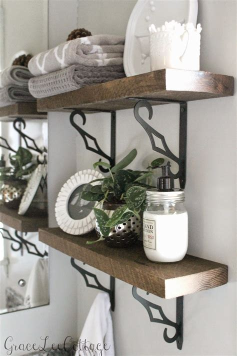 grace cottage diy rustic bathroom shelves