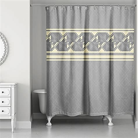 grey white and yellow shower curtain buy geometric inversed shower curtain in yellow grey from