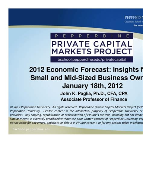 Pepperdine Mba Login by Pepperdine 2012 U S Economic Forecast