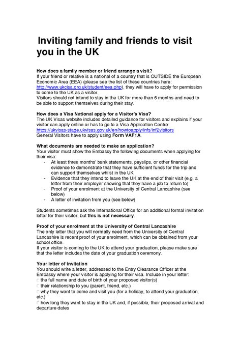 Letter Of Invitation To Uk Embassy Invitation Letter For Uk Visa Template Best Template Collection
