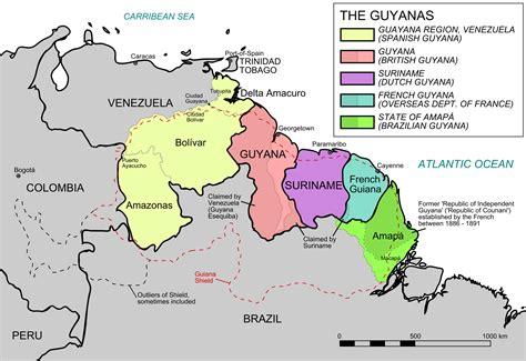 south america map highlands guiana highlands map location