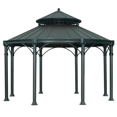 black gazebo shop sunjoy black steel permanent gazebo exterior