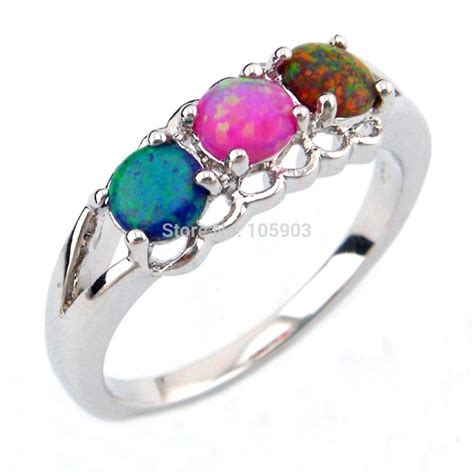 fashion jewelry rings mexican opal rings blue pink and