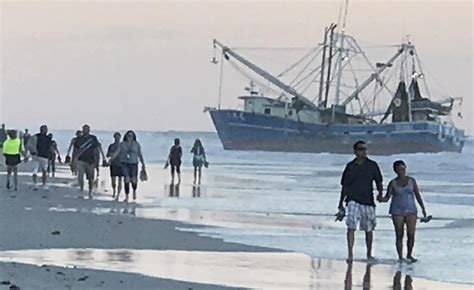 shrimp boat in ormond beach beached shrimping boat nudged closer to ormond shore