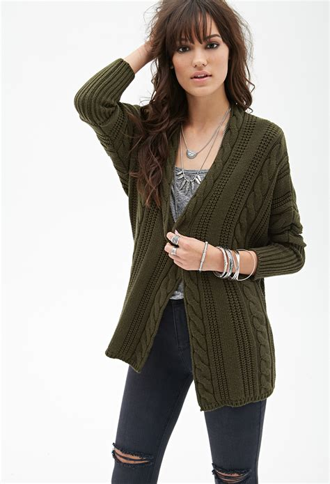 knit cardigan forever 21 forever 21 cable knit batwing cardigan in green lyst