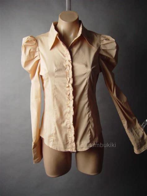 43763 Vintage S M L Top steunk gigot puff sleeve antique style beige top 24 mv blouse s m l ebay