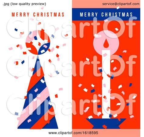 vertical greeting cards  christmas tree holiday candle  colorful confetti   air