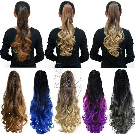 Hair Clip Ombre Curly 20 quot 50cm clip in ombre dip dye color curly wavy