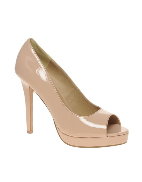 asos asos platform peep toe court shoes in beige