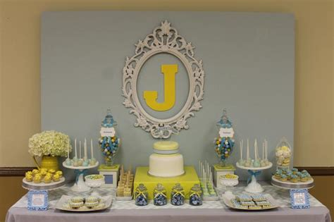 Blue And Yellow Baby Shower by Baby Shower Ideas Gray Blue Yellow Baby Shower