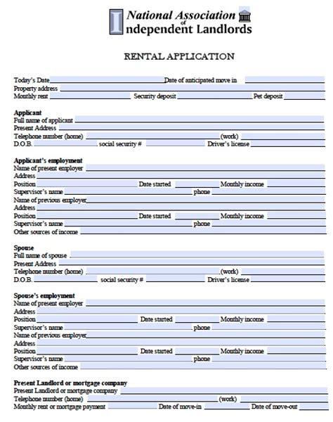 rental application template free minnesota rental application pdf template