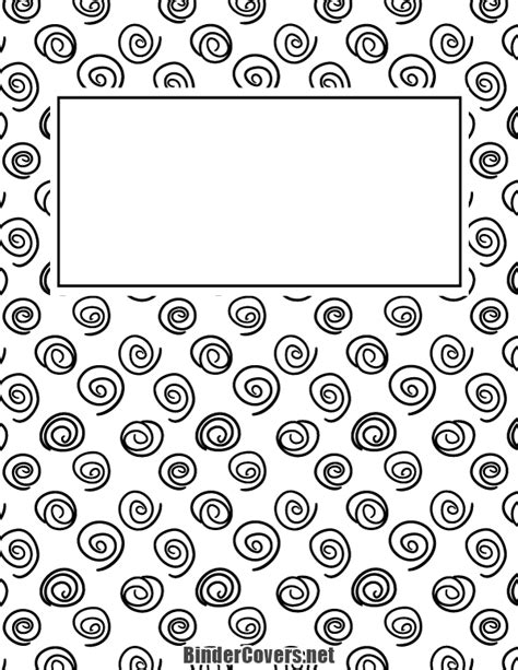 printable black and white spiral binder cover