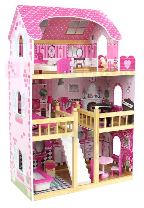 big doll house big wooden doll house with furniture for kids ebay
