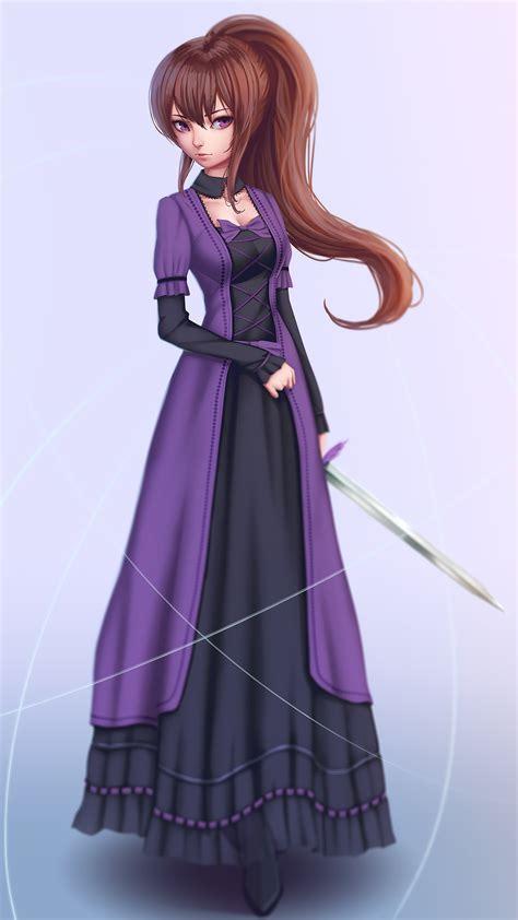 amima dress amima zalsa brown hair purple anime anime