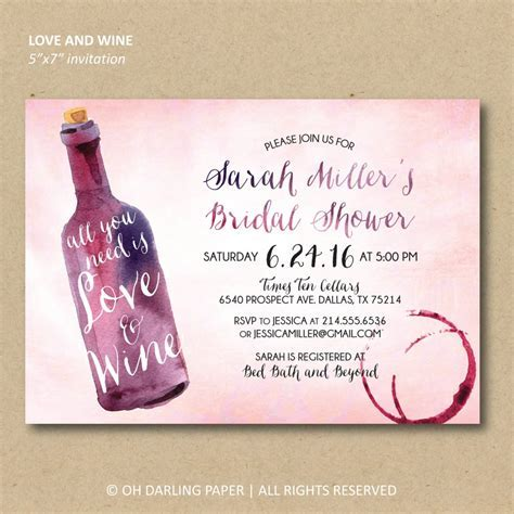 Printable Wine Invitations   Cheap Bridal Shower Products