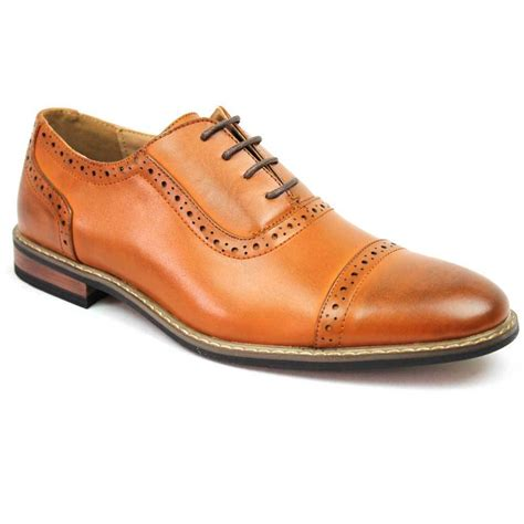 new s brown dress shoes cap toe lace up oxfords