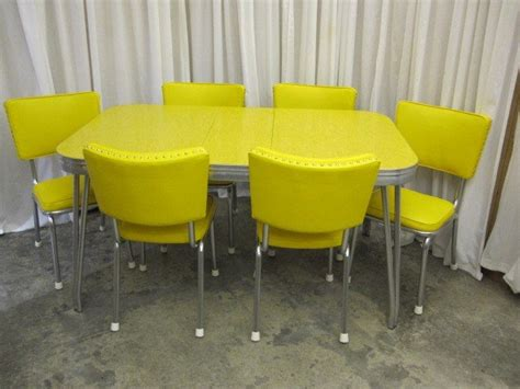 retro mid century 1950 s yellow chrome table 6 chairs for