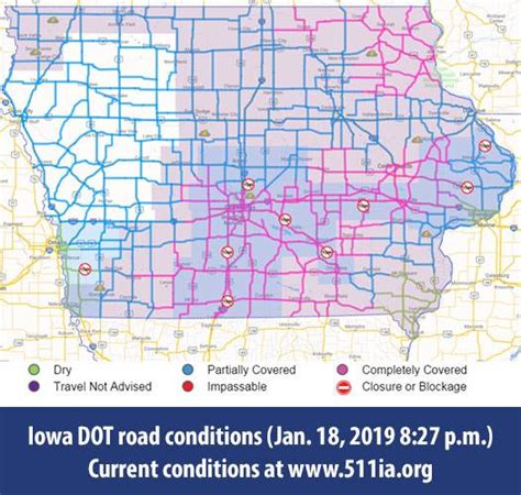 iowa dot puts tow bans  place   counties  snow