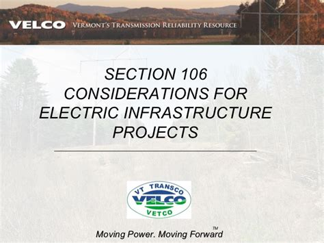 section 106 funding section 106 considerations for electric infrastructure