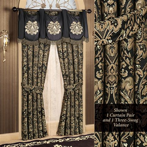 Black And Gold Window Valances Imperial Damask Swag Valance And Curtains