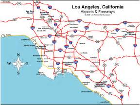 Map Of Los Angeles Airports los angeles california area map featuring la and orange