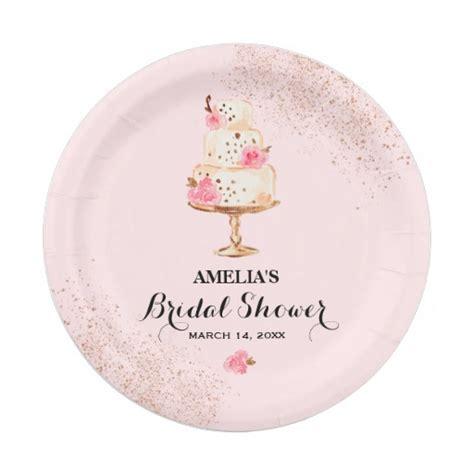 bridal shower paper goods cake tea bridal shower paper plates zazzle