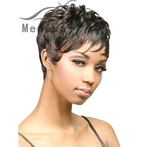 pixie wigs for african american women medusa hair products chic afro short pixie wavy wig with