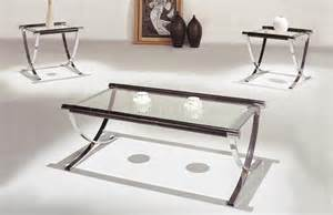 Set of glass top contemporary coffee amp end tables w chrome legs hlct