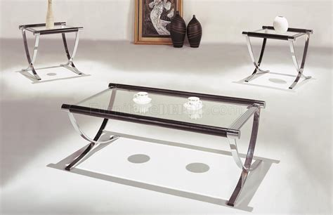 set of glass top contemporary coffee end tables w chrome