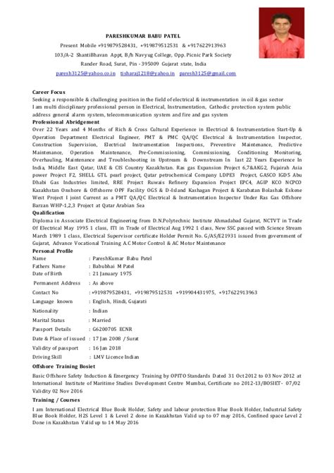 Resume Sample Job Experience by Cv Electrical