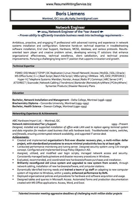 Resume Format For Network Engineer by Get Network Engineer Resume Sle Here Resume Writing Service