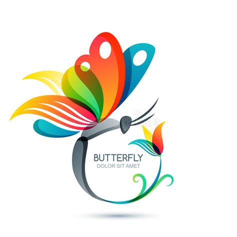 colorful butterfly logo colorful butterfly and flower vector illustration stock
