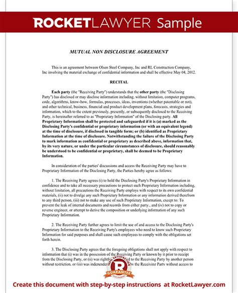 mutual non disclosure agreement nda template mutual
