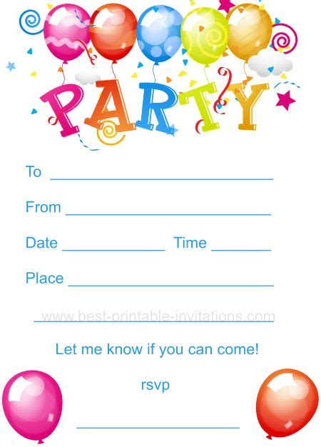 printable children s party invitations free kids birthday party invites