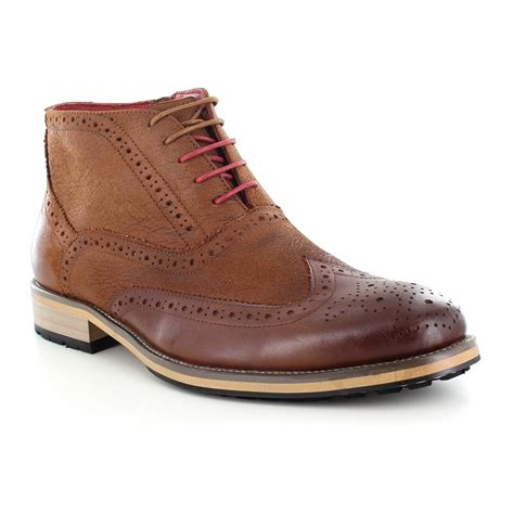justin reece bruno mens lace up brogue boot brown