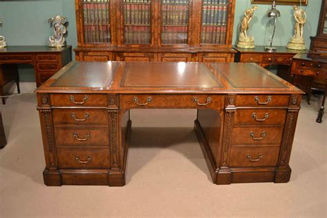 Large Victorian Burr Walnut Partners Pedestal Desk
