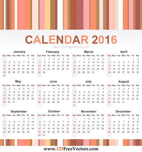 printable calendar vector calendar 2016 vector by 123freevectors on deviantart