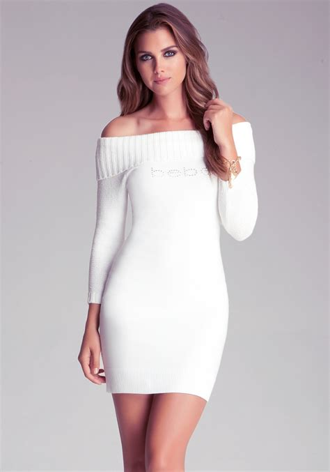 Dress Of The Day White Hoodie Dress by Bebe Shoulder Sweater Dress In White Lyst