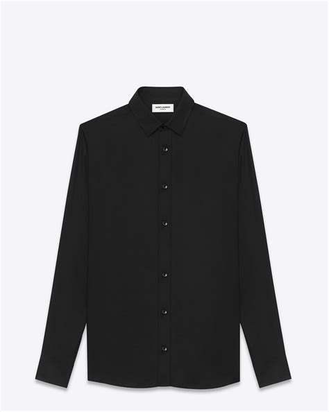 Blouse Rajut Impor Ysl laurent signature yves collar shirt in black viscose twill ysl