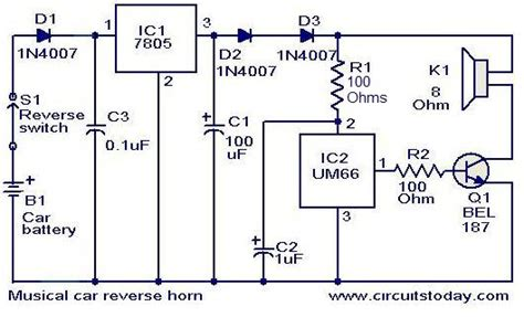 wiring diagram of car horn circuit and schematics diagram
