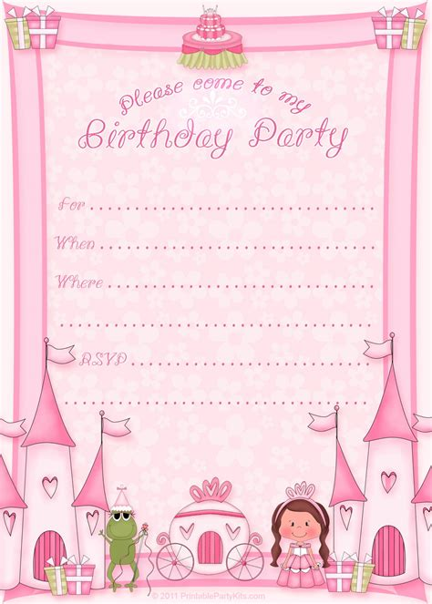 princess themed invitation template free printable princess birthday invitations