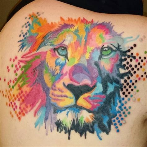 beautiful colorful lion tattoo venice tattoo art designs